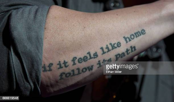 Singer Brett Young tattoo detail performs during the ACM Party For A Cause The Joint at The Joint inside the Hard Rock Hotel Casino on April 1 2017...