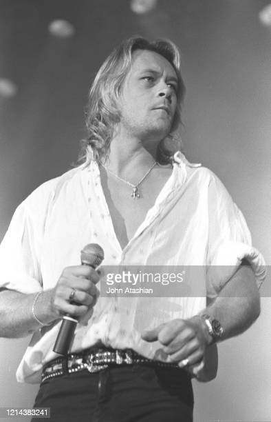 Singer Brian Howe is shown performing on stage during a live concert appearance with Bad Company on March 29 1991