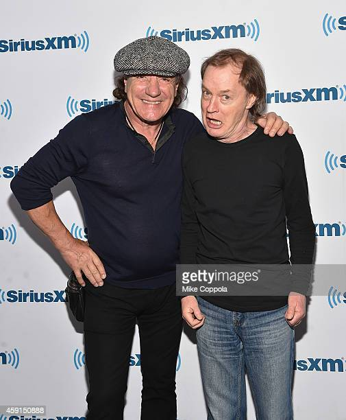 Singer Brian Johnson and guitarist Angus Young of the band AC/DC attend the SiriusXM's 'Town Hall' With AC/DC's Angus Young And Brian Johnson on...