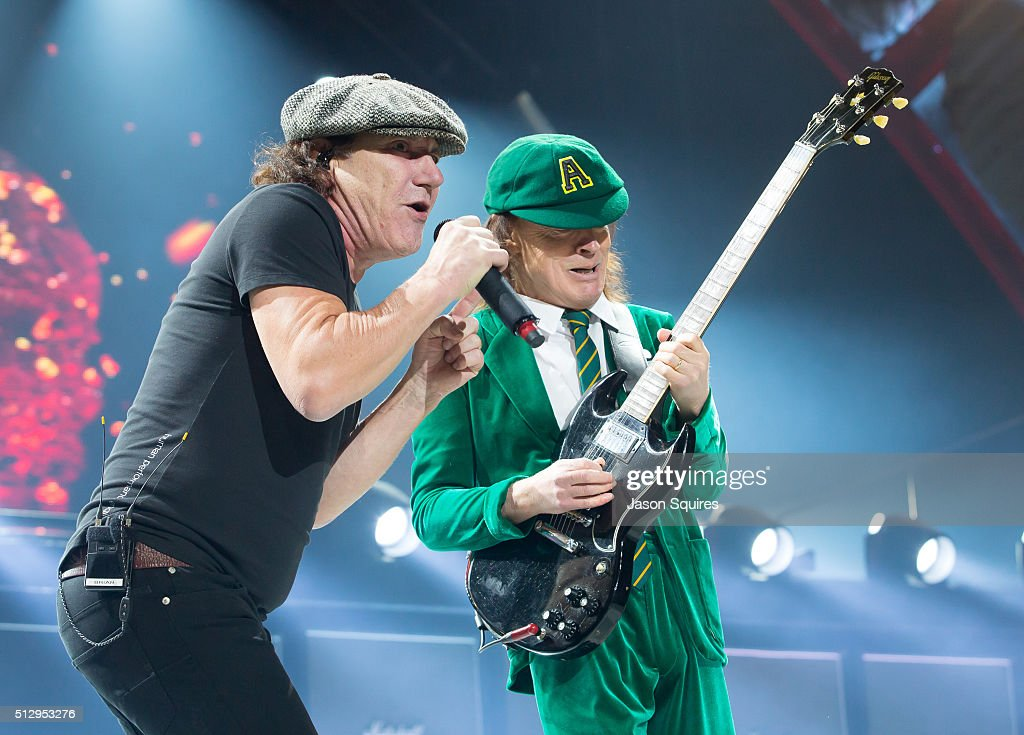 Singer Brian Johnson (L) and musician Angus Young of AC/DC performs at Sprint Center on February 28, 2016 in Kansas City, Missouri.