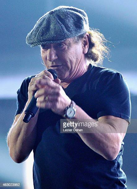 Singer Brian Johnson of AC DC performs onstage during The 57th Annual GRAMMY Awards at the STAPLES Center on February 8 2015 in Los Angeles California