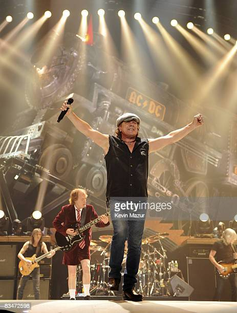 Singer Brian Johnson of AC/DC performs during their 'Black Ice' Tour Opener on October 28 2008 in WilkesBarre Pennsylvania