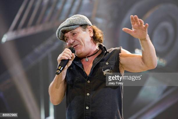 Singer Brian Johnson of AC/DC performs in concert during their 'Black Ice World Tour' at the Conseco Fieldhouse on November 3 2008 in Indianapolis
