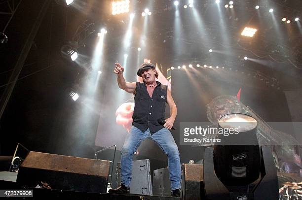 Singer Brian Johnson of AC/DC performs live for fans at Queensland Sport and Athletics Centre on February 25 2010 in Brisbane Australia