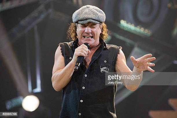 Singer Brian Johnson of the Australian rock band AC/DC performs in concert on their 'Black Ice World Tour' at the Conseco Fieldhouse on November 3...