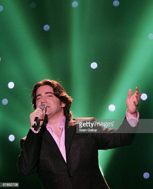 Singer Brian Kennedy of Ireland performs at the semifinals of the 2006 Eurovision Song Contest May 18 2006 in Athens Greece