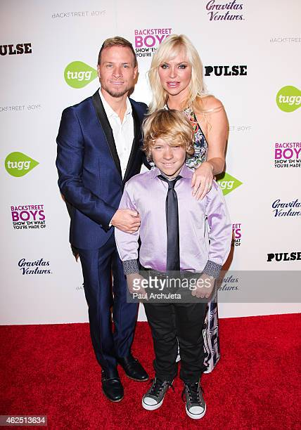 Singer Brian Littrell Baylee Thomas Wylee Littrell and Leighanne Wallace attend the premiere of the Backstreet Boys Show 'Em What You're Made Of at...