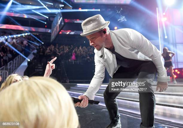 SInger Brian Littrell of Backstreet Boys performs onstage during the 52nd Academy of Country Music Awards at TMobile Arena on April 2 2017 in Las...