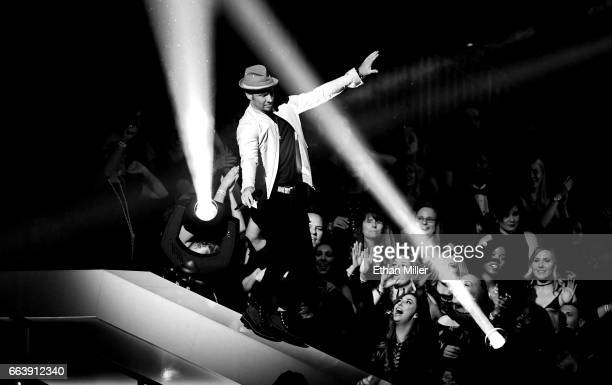 Singer Brian Littrell of music group the Backstreet Boys performs during the 52nd Academy of Country Music Awards at TMobile Arena on April 2 2017 in...