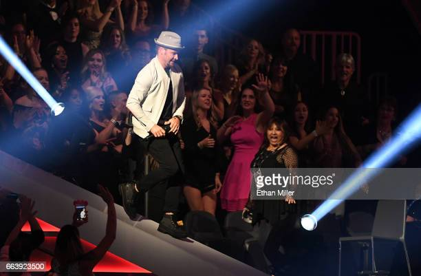 Singer Brian Littrell of the Backstreet Boys performs during the 52nd Academy of Country Music Awards at TMobile Arena on April 2 2017 in Las Vegas...