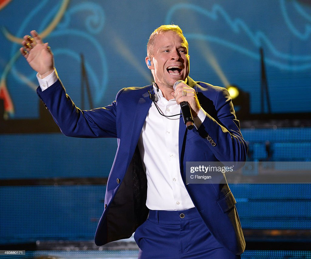 Singer Brian Littrell of the Backstreet Boys performs during the 'In a World Like This' summer tour at Shoreline Amphitheatre on May 25, 2014 in Mountain View, California.