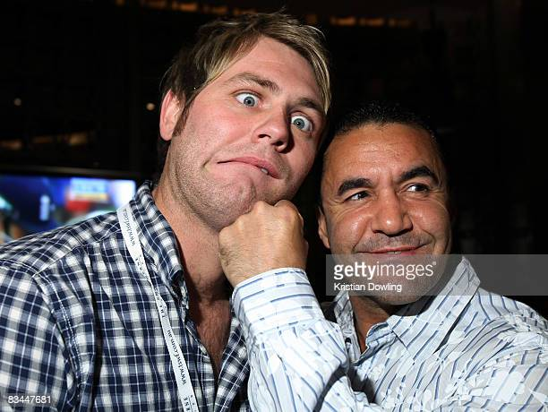 Singer Brian McFadden and former boxing champion Jeff Fenech attend Australia's biggest charity poker event the 'Joe Hachem Shane Warne Charity Poker...