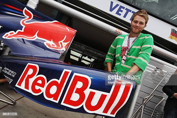 Singer Brian McFadden is seen during qualifying for the Australian Formula One Grand Prix at the Albert Park Circuit on March 27 2010 in Melbourne...
