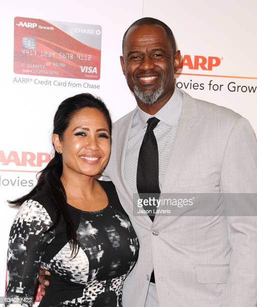 Singer Brian McKnight and Leilani Mendoza attend AARP's 16th annual Movies For Grownups Awards at the Beverly Wilshire Four Seasons Hotel on February...