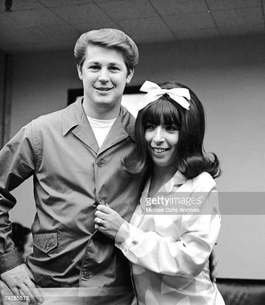 Singer Brian Wilson of the rock and roll band The Beach Boys poses for a portrait with his wife Marilyn Wilson aka Marilyn Rovell singer in The...