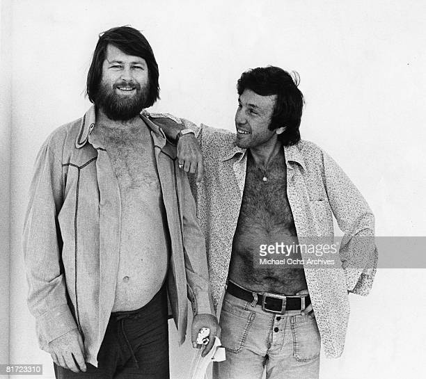 Singer Brian Wison of the rock and roll band The Beach Boys poses for a portrait with his questionable psychologist Dr Eugene Landy in circa 1976