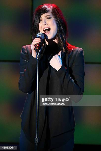 Singer Briana Cuoco performs onstage at the 22nd A Night At Sardi's at The Beverly Hilton Hotel on March 26 2014 in Beverly Hills California