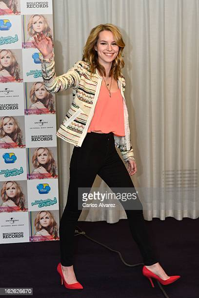 Singer Bridgit Mendler presents her new album Hello My Name Is at the Hotel ME on February 25 2013 in Madrid Spain