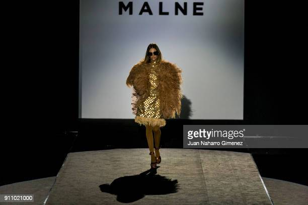 Singer Brisa Fenoy walks the runway at the Malne show during the MercedesBenz Fashion Week Madrid Autumn/Winter 201819 at Ifema on January 27 2018 in...