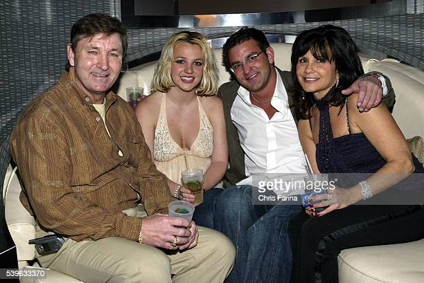 Singer Britney Spears and family father Jamie brother Bryan and mother Lynne celebrate with Jamie Spears's partners George and Phil Maloof and John...