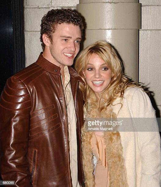 Singer Britney Spears and her boyfriend Justin Timberlake attend the Britney Spears and Jive Records Release Party for Britney's new album 'Britney'...