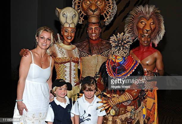 Singer Britney Spears and her sons Jayden James and Sean Preston pose with Kissy Simmons Derrick Willimas Ntsepa Pitjeng and Niles Rivers of The Lion...