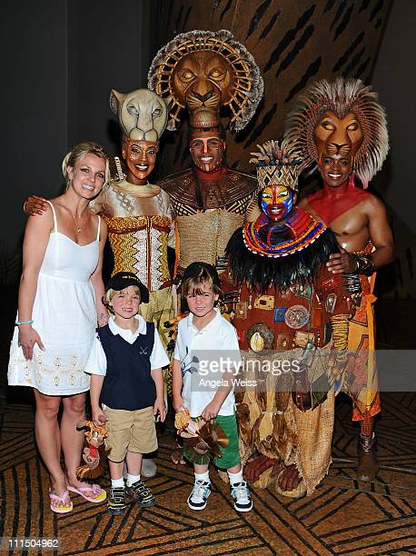 Singer Britney Spears and her sons Jayden James and Sean Preston pose with Kissy Simmons, Derrick Willimas, Ntsepa Pitjeng and Niles Rivers of The...