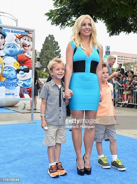 Singer Britney Spears and her sons Sean Federline and Jayden James Federline attends the premiere Of Columbia Pictures' Smurfs 2 at Regency Village...