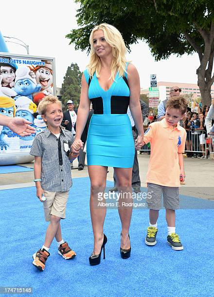 Singer Britney Spears and her sons Sean Federline and Jayden James Federline attends the premiere Of Columbia Pictures' Smurfs 2 at Regency Village...