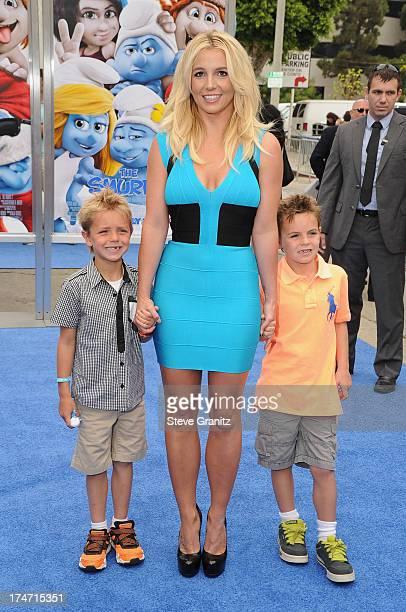 "Singer Britney Spears and her sons Sean Federline and Jayden James Federline attend the premiere Of Columbia Pictures' ""Smurfs 2"" at Regency Village..."