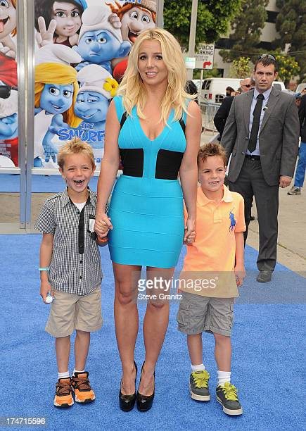 Singer Britney Spears and her sons Sean Federline and Jayden James Federline attend the premiere Of Columbia Pictures' Smurfs 2 at Regency Village...