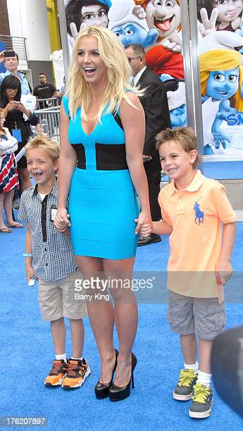 Singer Britney Spears and her sons Sean Preston Federline and Jayden James Federline arrive at the Los Angeles Premiere 'Smurfs 2' on July 28 2013 at...