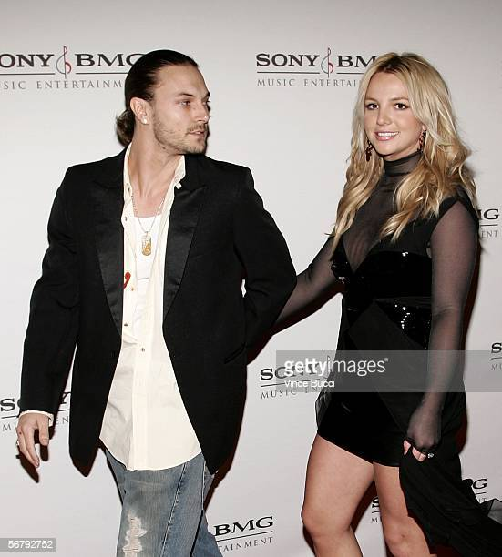 Singer Britney Spears and husband Kevin Federline arrive at the SONY BMG Grammy Party held at The Hollywood Roosevelt Hotel on February 8 2006 in...