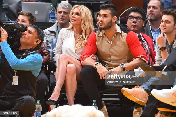 Singer Britney Spears and Sam Asghari attend the Golden State Warriors game against the Los Angeles Lakers on November 29 2017 at STAPLES Center in...