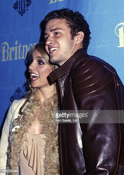 Singer Britney Spears and singer Justin Timberlake of N'Sync attend the release party for her new album Britney on November 6 2001 at CentroFly in...