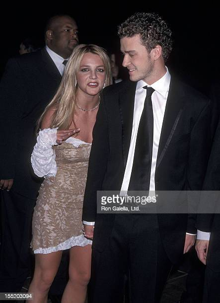 Singer Britney Spears and singer Justin Timberlake of N'Sync attend the 44th Annual Grammy Awards PreParty Hosted by Clive Davis on February 26 2002...