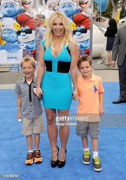 """Singer Britney Spears and sons Sean Federline and Jayden James Federline arrive at the Los Angeles premiere of """"Smurfs 2"""" at Regency Village Theatre..."""