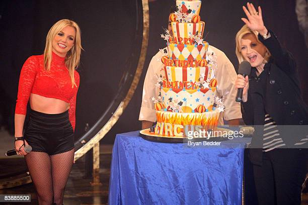 """Singer Britney Spears and TV anchor Diane Sawyer appear on ABC's """"Good Morning America"""" at The Big Apple Circus tent at Lincoln Center on December 2,..."""