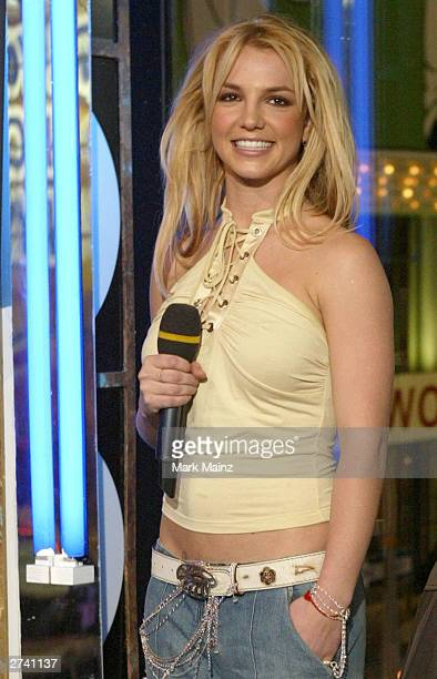 Singer Britney Spears appears on stage during Spanking New Music Week on MTV Total Request Live at the MTV Times Square Studios November 18 2003 in...