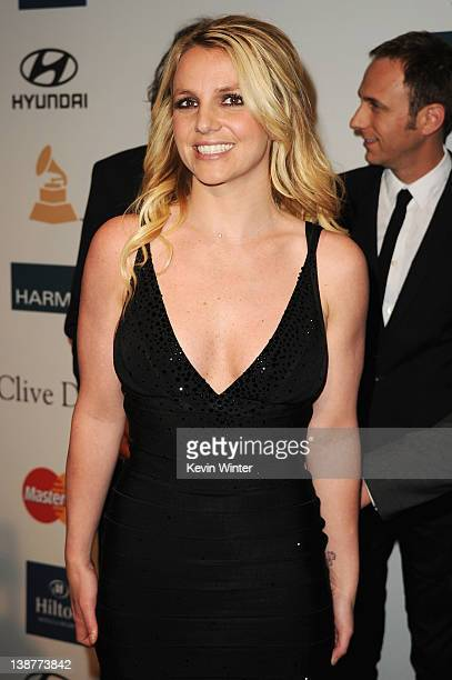 Singer Britney Spears arrives at Clive Davis and the Recording Academy's 2012 PreGRAMMY Gala and Salute to Industry Icons Honoring Richard Branson...