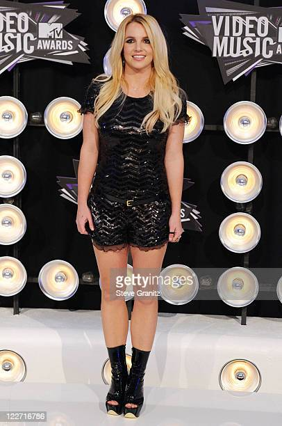 Singer Britney Spears arrives at the The 28th Annual MTV Video Music Awards at Nokia Theatre LA LIVE on August 28 2011 in Los Angeles California