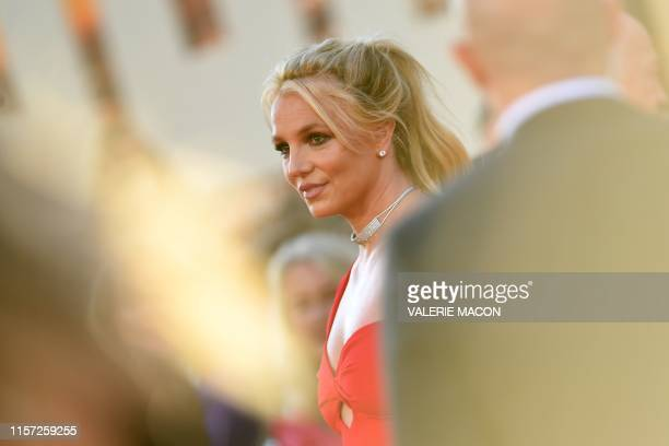 """Singer Britney Spears arrives for the premiere of Sony Pictures' """"Once Upon a Time... In Hollywood"""" at the TCL Chinese Theatre in Hollywood,..."""