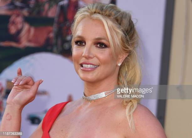 US singer Britney Spears arrives for the premiere of Sony Pictures' Once Upon a Time in Hollywood at the TCL Chinese Theatre in Hollywood California...