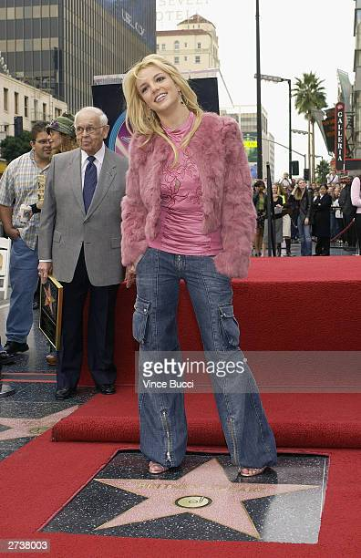 Singer Britney Spears attends a ceremony honoring her with a star on the Hollywood Walk of Fame on November 17 2003 on Hollywood Boulevard in...