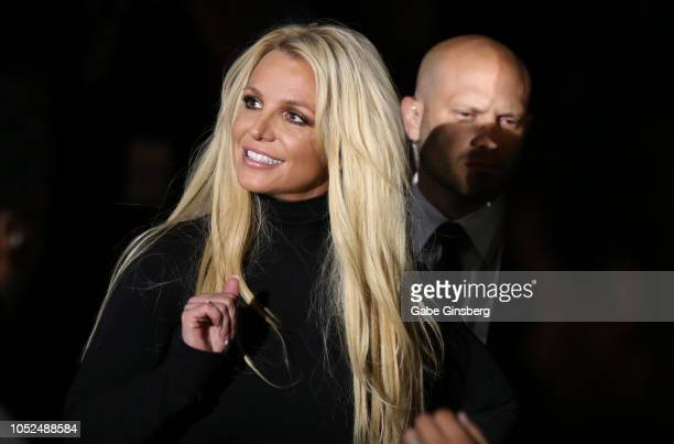 """Singer Britney Spears attends the announcement of her new residency, """"Britney: Domination"""" at Park MGM on October 18, 2018 in Las Vegas, Nevada...."""