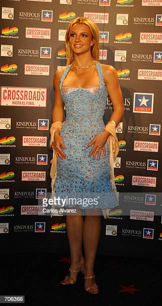 Singer Britney Spears attends the Spanish premiere of her new movie Crossroads at the Kinepolis cinema March 21 2002 in Madrid Spain