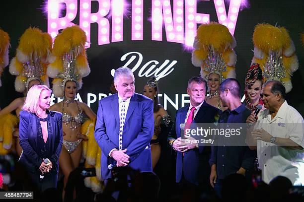 Singer Britney Spears Clark County Commissioner Steve Sisolak Regional President of Planet Hollywood Resort Casino Bally's Las Vegas and Paris Las...