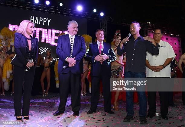 Singer Britney Spears, Clark County Commissioner Steve Sisolak, Regional President of Planet Hollywood Resort & Casino, Bally's Las Vegas and Paris...