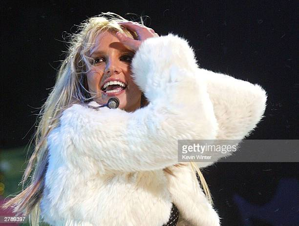 Singer Britney Spears performs at 102.7 KIIS-FM's 3rd Annual Jingle Ball at the Staples Center on December 5, 2003 in Los Angeles, California.