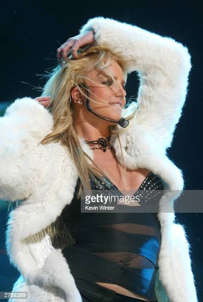 Singer Britney Spears performs at 1027 KIISFM's 3rd Annual Jingle Ball at the Staples Center on December 5 2003 in Los Angeles California
